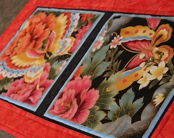 Orange Peach Floral Butterfly 15  X 27 Table Runner Topper