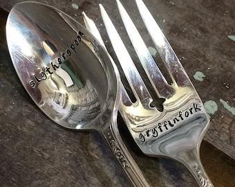 Harry Potter Inspired Vintage Silverware Set - Hand Stamped Original Slytherspoon and Gryffinfork - Gryffindor - Slytherin - Custom