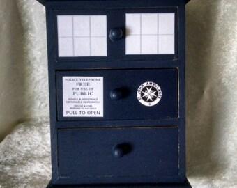 TARDIS Jewelry Box - Doctor Who Jewelry Box - It's bigger on the inside - TARDIS Box - Wood Police Box with Drawers - Jewelry Box - TARDIS