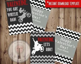 Moto-Tine, MotoX Valentines INSTANT DOWNLOAD, Printable Valentine Cards, kids valentines, motocross, motorcycle, dirtbike
