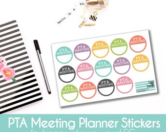 PTA Meeting Planner Stickers  - Set of 14 stickers for MAMBI Happy Planners or Erin Condren Life Planner