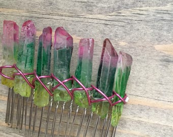 Rainbow raw crystal point comb, raw quartz, raw crystal points, crystal accessories, festival hair accessories, bridal hair comb, raw crysta