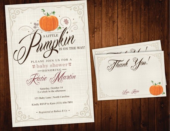 Pumpkin Baby Shower Invitation & Thank You Card, Rustic Fall Baby Shower Invite