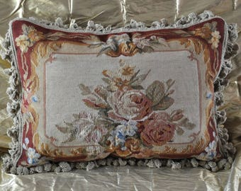 18″ x 24″ Handmade Gobelins Tapestry Weave Wool Aubusson Pillow Case / Cushion Cover 12980020