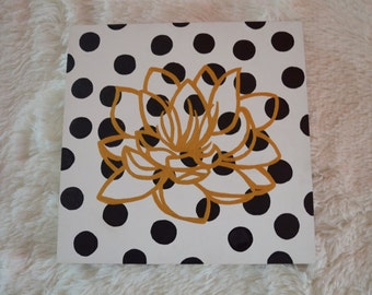 Golden Flower, Interior, black, white and gold colors, home decor, acrylic on wood