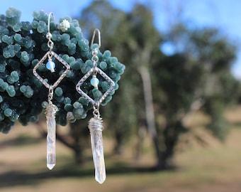 Aura Quartz Earrings-Wire Wrapped Jewelry-Opalite Earrings-Every day Earrings-Crystal Earrings