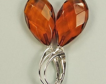 Faceted genuine Baltic amber sterling silver  earrings.