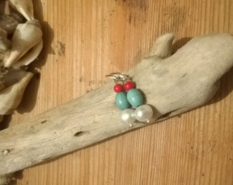 Handmade Sterling Silver, Coral, Turquoise and Freshwater Pearl Bead Drop Earrings