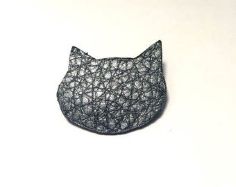 BROOCH cat leather grained leather