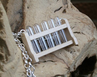 Just Chemistry Necklace, Science Geek Test Tube Necklace, Silver Plated, Teacher Necklace