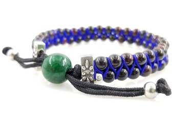 6mm Garnet with Emerald,  Silver and Silk