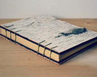 Handmade Wood Journal/Eco Friendly Wooden Notebook/Guest Book With Birch Bark Covers/ Coptic stitch Wooden Book/ Hand Bound Journal