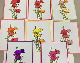 Set of 8  handmade blank note cards assorted colors