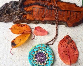 Ceramic necklace, ceramic pendant, pottery bead, statement pendant, woven necklace, mixed media necklace, boho necklace, bohemian necklace