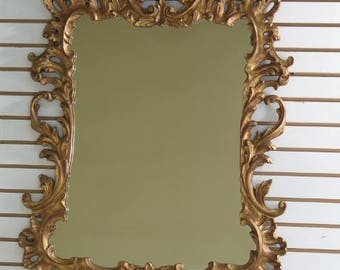 28992E: Italian Carved Gilt Wood Gold Framed French Style Mirror