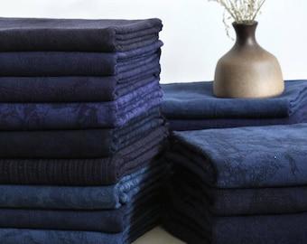 SALE,Pure color linen fabric, jacquard fabric, navy blue fabric, cotton linen fabric, DIY fabric