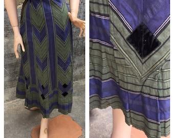 Stunning Original Vintage 1920's Geometric Blue And Green Stripe With Black Velvet Diamonds, 34 inch Waist