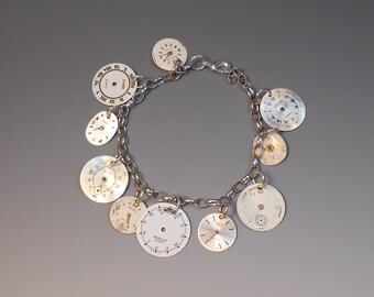 Steampunk Watch Dial Bracelet Recycled Genuine Wrist Watch Faces Watch Part Jewelry Silver Plated Bracelet Watch Jewelry - C