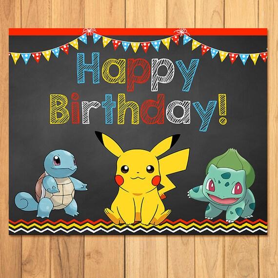 Birthday Cards Pokemon: Pokemon Birthday Sign Chalkboard Pokemon Birthday Pokemon