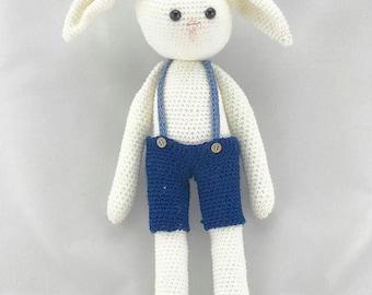 Albert the Bunny - crochet toy in overalls, Amigurumi, Easter present, Handmade toy