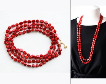 Coral necklace Long necklace Red coral necklace Gold Necklace Gold Layering necklace Red necklace Layered necklace Multi strand necklace 938