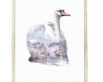 Swan Animal Double Exposure Art Print - Faunascapes by WhatWeDo