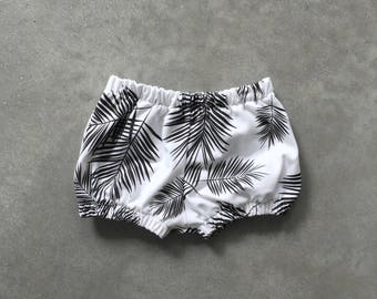 Baby boomers SALE baby shorts, baby summer clothes, gender neutral bloomers, monochrome palm leaf bloomers, mustard stripes 6-12m