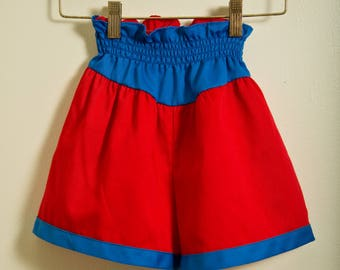 KIDS HIGH WAISTED red and blue elasticized true vintage Wonder Woman shorts size 6X