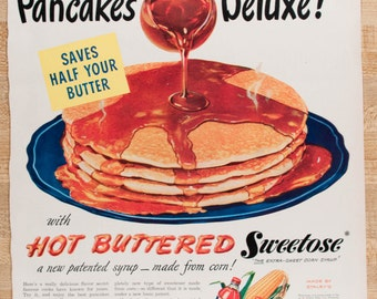 "Sweetose Corn Syrup ""Pancake"" Ad from 1947 (AD47-41)"