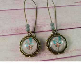 Bird earrings, cameo pendant earrings, glass cabochon, boho