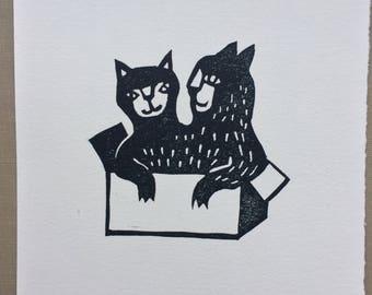 Linocut print Two Cats