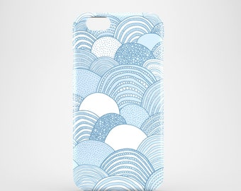 Cloud illustration phone case / iPhone X, iPhone 8, iPhone 7, iPhone 7 Plus, iPhone SE, iPhone 6/6S, iPhone 5/5S / sky blue phone case