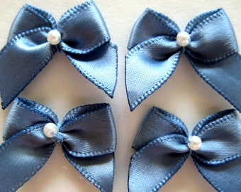 Sadden Blue Satin Ribbon Bows Pearl Center for Sewing, Crafting, Doll Clothes, 1 inch / 25 mm, 30 pieces
