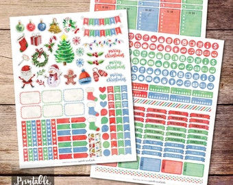 Christmas Printable Planner Stickers, Watercolor Christmas Stickers, Winter Printable Stickers, Printable Weekly Kit Stickers, Cut File