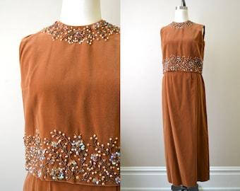 1960s Arbe Beaded Brown Velveteen Top and Skirt Set