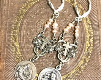 Sweet Faith, vintage assemblage, earrings, religious, pearls, white bronze, sterling silver