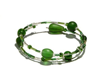 Green and Clear Bead Bracelet