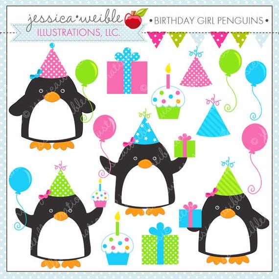 birthday girl penguins cute digital clipart for commercial or rh etsy com little girl birthday clipart birthday girl clipart free