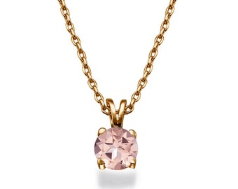 Classic Morganite Pendant Necklace, 14K Rose Gold Pendant Jewelry, Anniversary Gift, Wedding Jewelry, Bridal Jewelry, Vintage Pendant
