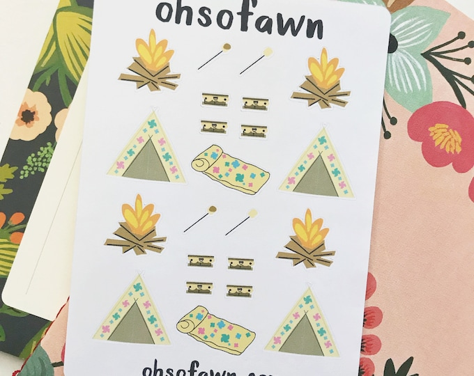 Hand Drawn Camping Planner Stickers