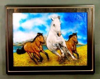 Horse Sculpture high-end embossed on wood hand Wall Art for lovers of horses wall hanging of luxury for her and him