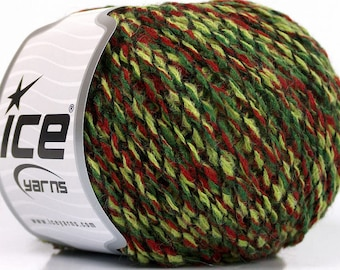 2 Skeins - Red, Green, Black Shades - Acrylic and Wool