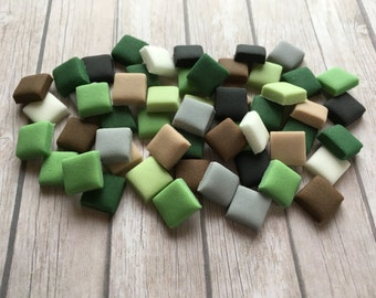 100 Edible small Minecraft Style Squares pixel cake decorations - 1cm