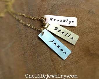 Family Tags Necklace in 14kGF, 14k Rose Gold Filled and Sterling Silver