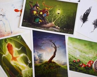 Set of 6 Fantasy Postcards, Fantasy Photography, Nursery Decor, Home Decor, Invites - 8.5'' x 5.5''