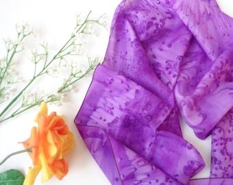 purple silk scarf handdyed silk scarf light purple scarf gift for her long silk scarf SilkScarvesParis