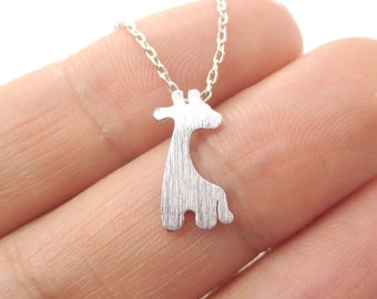 Baby Giraffe Silhouette Shaped Pendant Necklace in Silver  | Minimalistic Handmade Animal Jewelry