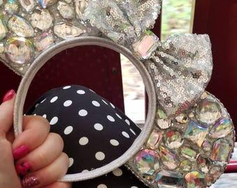 Rhinestone, faux diamond, gemstone mouse Ears, custom colors and themes.