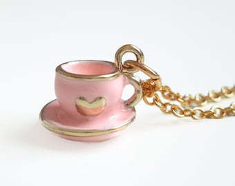 Emma - pink Teacup Charm Necklace - Pink heart tea cup necklace - Tea Party - Alice in Wonderland