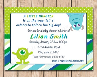 Mini Monsters Inc. Baby Shower Invitation - 1.00 each printed